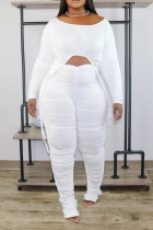 White Sexy Solid Draw String O Neck Plus Size Two Pieces