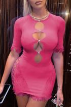Red Print Tassel Hollowed Out Split Joint O Neck Pencil Skirt Dresses
