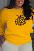 Yellow Casual Party Print Split Joint O Neck Tops