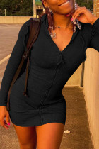 Black Fashion Casual Solid Split Joint Zipper Hooded Collar Long Sleeve Dresses