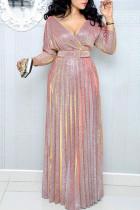 Pink Elegant Solid Split Joint Fold V Neck Straight Dresses(Contain The Belt)
