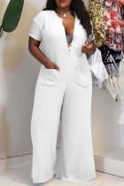 White Fashion Casual Solid Basic V Neck Plus Size Jumpsuits