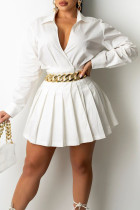 White Fashion Casual Solid Split Joint Turndown Collar Pleated Dresses