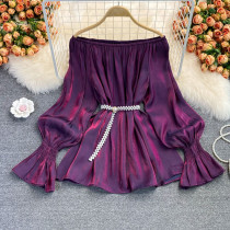 Purple Casual Solid Split Joint Off the Shoulder Tops