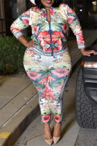 Multicolor Fashion Casual Print Split Joint Zipper Collar Plus Size Two Pieces