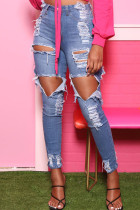 Blue Street Solid Ripped Split Joint High Waist Regular Denim Jeans
