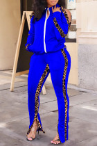Royal Blue Fashion Casual Patchwork Print Hollowed Out Zipper Collar Long Sleeve Two Pieces