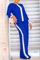 Royal Blue Fashion Casual Solid Split Joint O Neck Long Sleeve Two Pieces