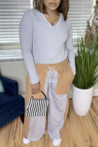 Grey Fashion Casual Patchwork Basic V Neck Long Sleeve Two Pieces