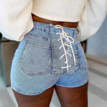 Blue Sexy Solid Draw String Mid Waist Skinny Denim Shorts