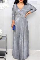 Silver Elegant Solid Split Joint Fold V Neck Straight Dresses(Contain The Belt)