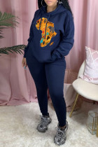 Blue Fashion Casual Print Basic Hooded Collar Long Sleeve Two Pieces