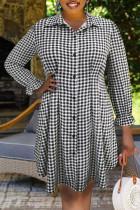 Black And White Fashion Street Plaid Split Joint Turndown Collar Pleated Plus Size Dresses