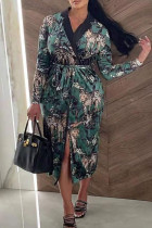 Multicolor Sexy Print Split Joint Buckle Turn-back Collar One Step Skirt Dresses