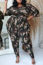 Army Green Fashion Casual Camouflage Print Split Joint O Neck Plus Size Two Pieces