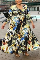 Black Sexy Digital Print V-Neck Large Size Dress