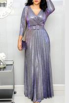 Purple Elegant Solid Split Joint Fold V Neck Straight Dresses(Contain The Belt)