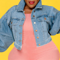Light Blue Fashion Casual Solid Cardigan Turndown Collar Plus Size Overcoat