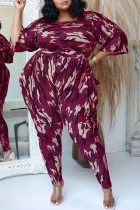 Red Fashion Casual Camouflage Print Split Joint O Neck Plus Size Two Pieces