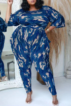 Navy Fashion Casual Camouflage Print Split Joint O Neck Plus Size Two Pieces