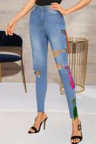 Light Blue Street Solid Tassel Ripped Split Joint High Waist Skinny Denim Jeans