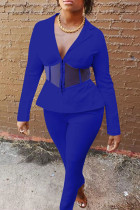Royal Blue Casual Solid Split Joint See-through Turn-back Collar Long Sleeve Two Pieces