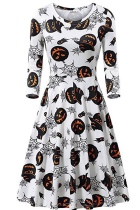 White Black Halloween Casual Party Split Joint Print Costumes