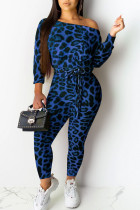 Blue Sexy Print Leopard Split Joint Off the Shoulder Skinny Jumpsuits(Contain The Belt)