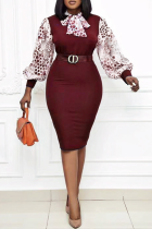 Red Party Print With Bow O Neck Pencil Skirt Plus Size Dresses