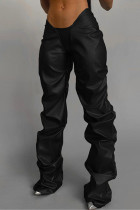 Black Fashion Casual Solid Fold Regular Low Waist Trousers