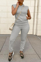 Light Gray Fashion Casual Solid Split Joint Hooded Collar Sleeveless Two Pieces