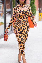 Yellow Street Fashion adult Print Two Piece Suits Leopard Camouflage pencil Long Sleeve