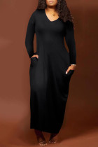 Black Fashion Casual Solid Split Joint V Neck One Step Skirt Dresses