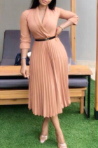 Pink Casual Solid Split Joint V Neck Cake Skirt Plus Size Dresses