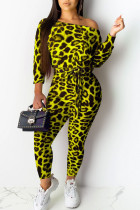Lemon Yellow Sexy Print Leopard Split Joint Off the Shoulder Skinny Jumpsuits(Contain The Belt)