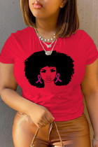 Red Casual Daily Print Split Joint O Neck T-Shirts