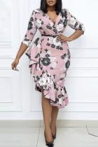 Pink Casual Print Split Joint V Neck Irregular Dress Plus Size Dresses