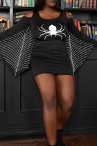 Black Fashion Print Split Joint O Neck Long Sleeve Plus Size Dresses