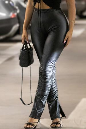 Black Fashion Street Solid Slit High Waist Speaker Bottoms