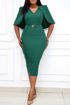 Green Casual Solid Split Joint V Neck Pencil Skirt Plus Size Dresses