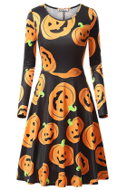 Black Yellow Halloween Casual Party Split Joint Print Costumes