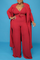 Red Fashion Casual Solid Bandage V Neck Plus Size Three-piece Set