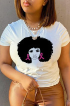 White Casual Daily Print Split Joint O Neck T-Shirts