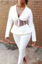 White Casual Solid Split Joint See-through Turn-back Collar Long Sleeve Two Pieces