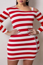 Red Fashion Plus Size Striped Print Hollowed Out Oblique Collar Long Sleeve Dresses (Without Waist Chain)