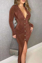 Brown Sexy Solid Split Joint Buckle Fold O Neck One Step Skirt Dresses