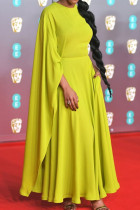 Yellow Elegant Solid Split Joint Asymmetrical O Neck Straight Dresses