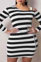 Black Fashion Plus Size Striped Print Hollowed Out Oblique Collar Long Sleeve Dresses (Without Waist Chain)
