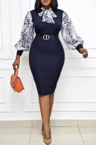 Blue Party Print With Bow O Neck Pencil Skirt Plus Size Dresses