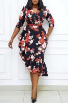 Red Casual Print Split Joint V Neck Irregular Dress Plus Size Dresses